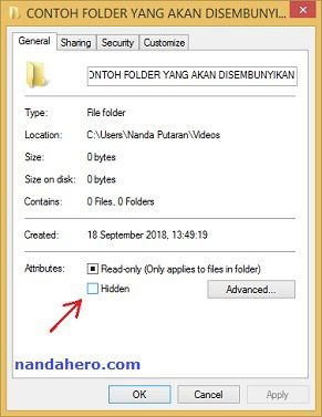 cara menyembunyikan file di laptop windows 10