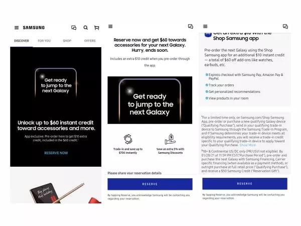 Reserve Pre Order Samsung Galaxy S21 Series