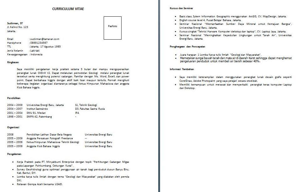 Contoh Curriculum Vitae Untuk Melamar Beasiswa