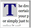 Example of drop cap for letter, T