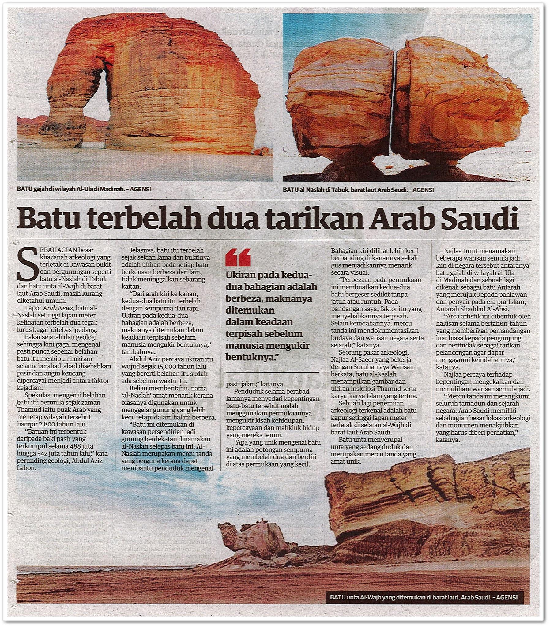 Batu terbelah dua tarikan Arab Saudi - Keratan akhbar Mingguan Malaysia 4 Oktober 2020