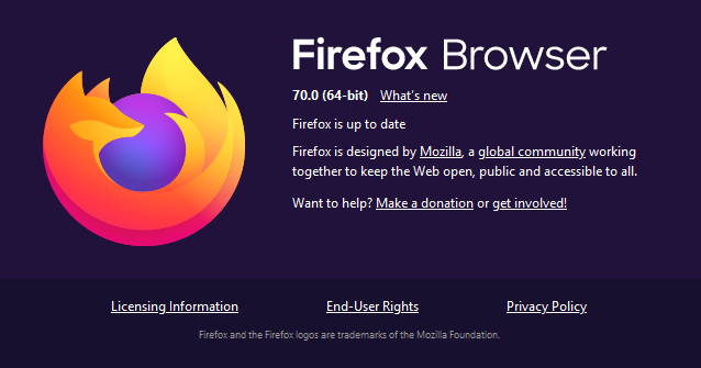 - firefox 2B70 - Breach Alerts, Tracking Protection & 9 Bugs Fixed