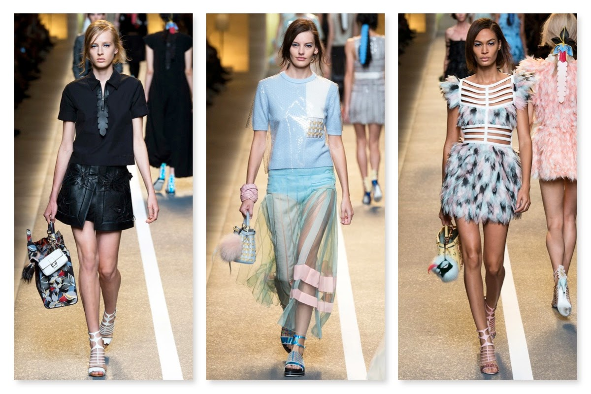 fb7f27b6d ... seems to be establishing itself for the Spring/Summer 2015 season - and  considerably smaller handbags, Fendi models debuted orchid-embellished  designs ...