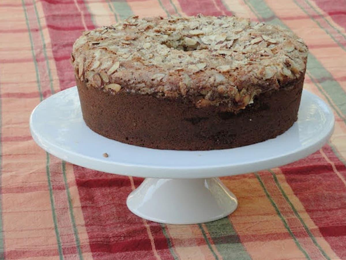 Blackberry Cream Cheese Coffee Cake on a white cake platter.