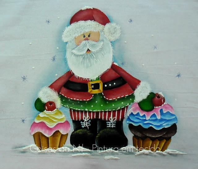 pintura em tecido papai noel country com cupcakes