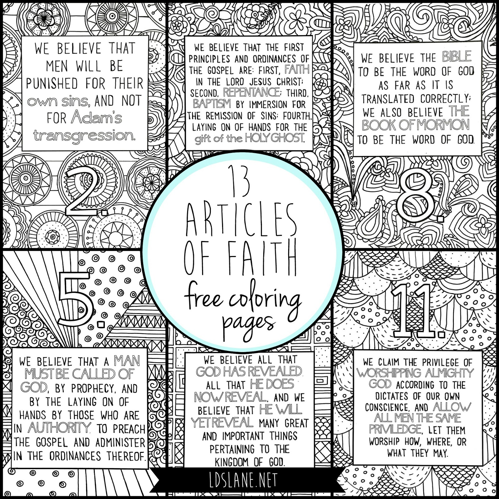 13 articles of faith coloring pages
