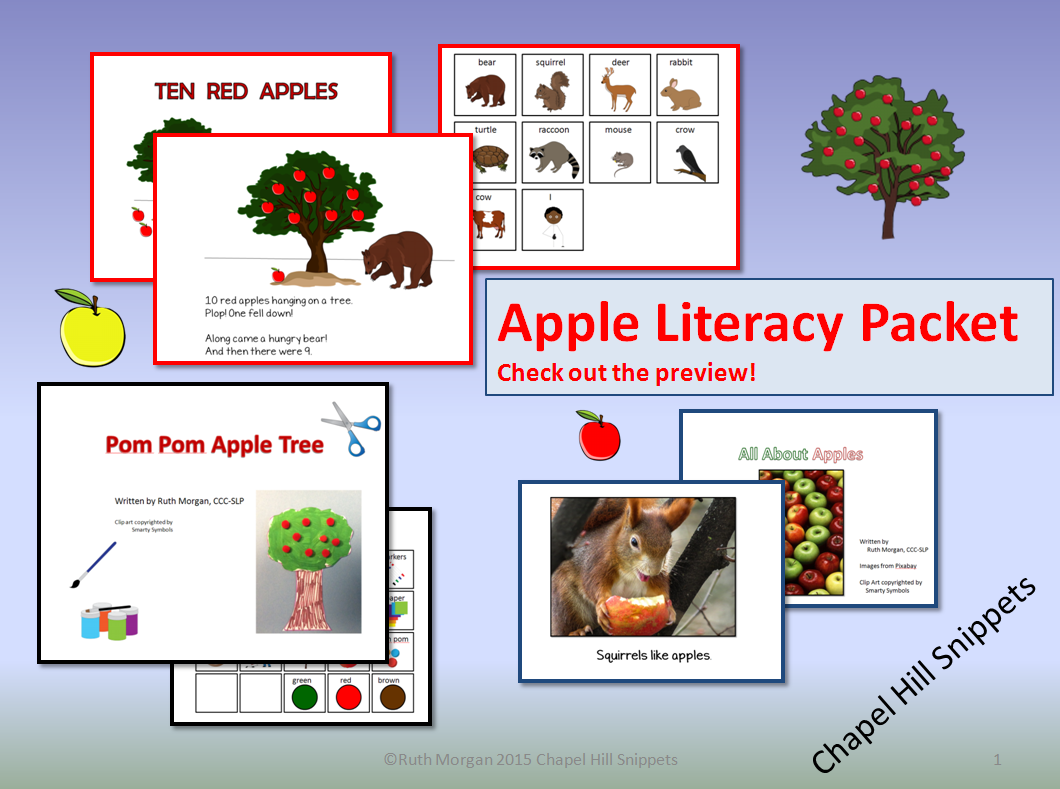 Chapel Hill Snippets Apples Literacy Activity Packet