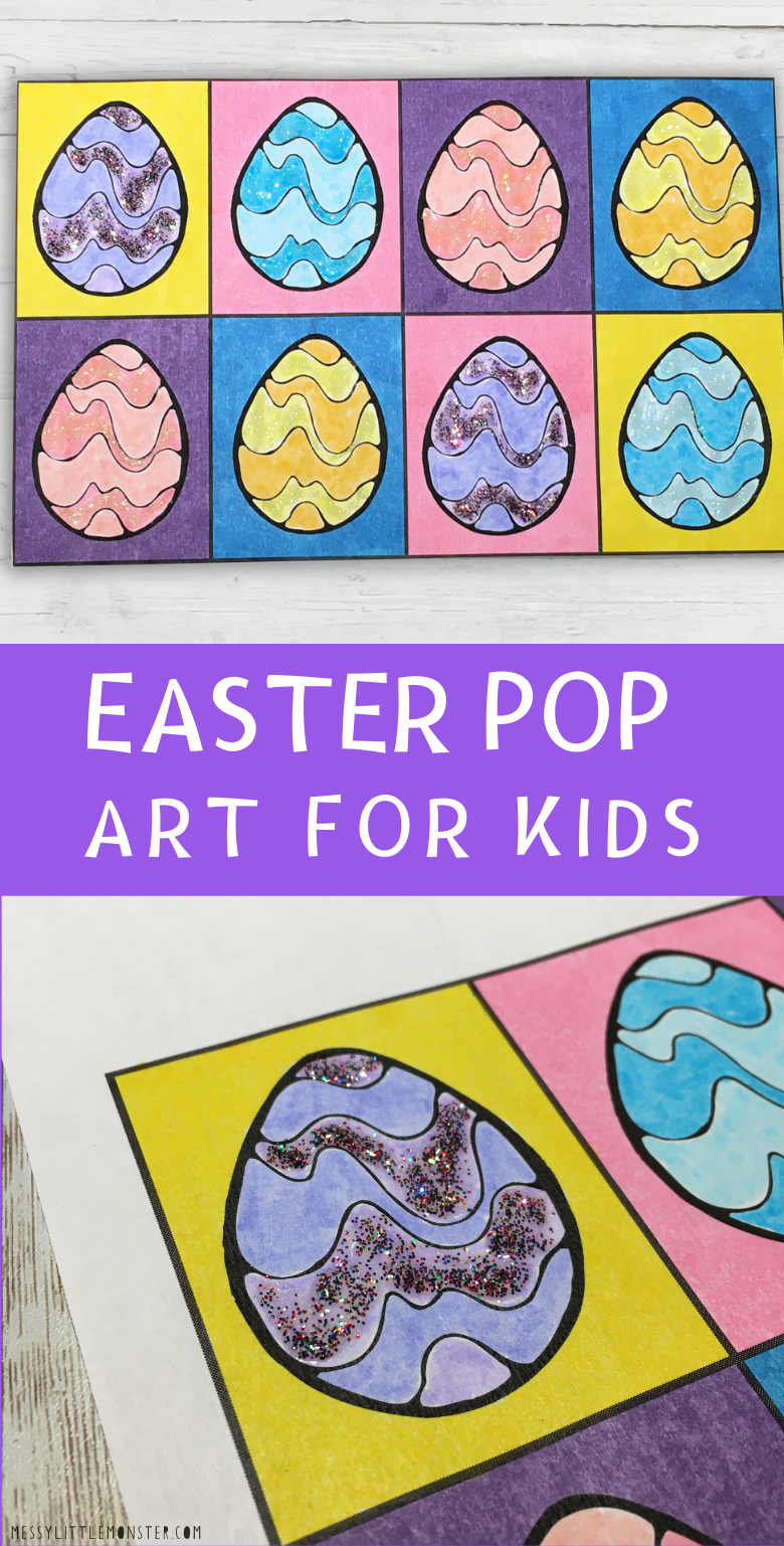 Easter pop art project - Easy Easter art for kids with printable pop art template. .