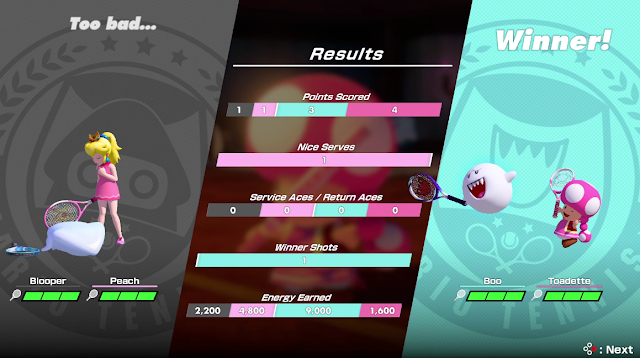 Mario Tennis Aces doubles match results screen Blooper Peach Boo Toadette