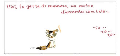 Vivi, la gatta di mamma, va molto d'accordo con Lele... To… to… to…