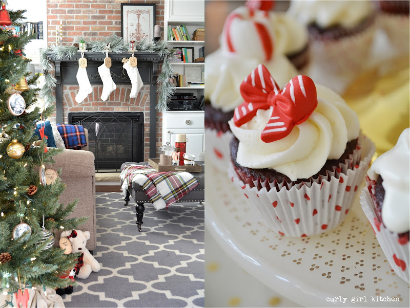 Christmas Decorations, Hot Chocolate, Plaid Blankets, Christmas Tree, Red Velvet Cupcakes