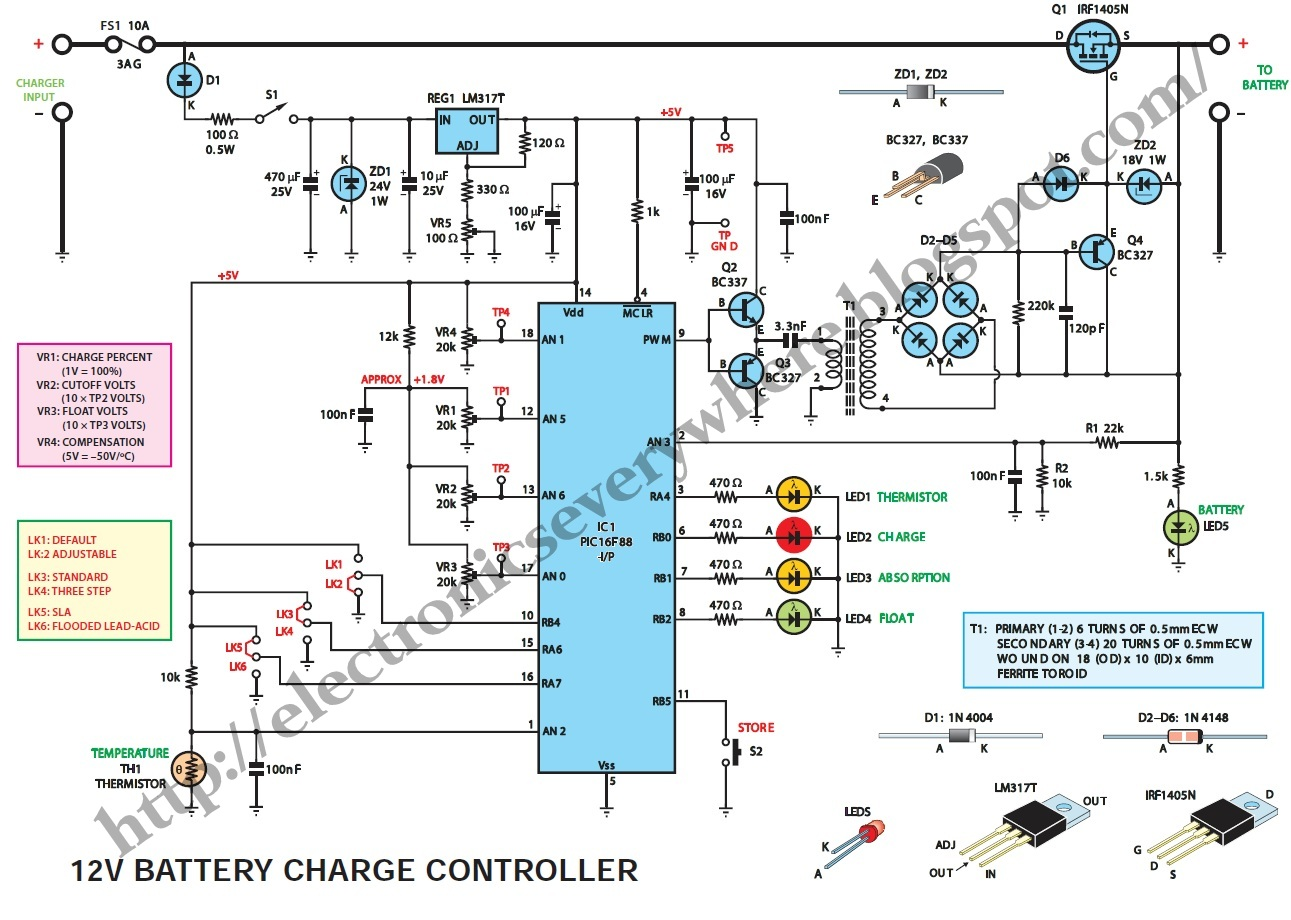 hight resolution of battery charge controller circuit