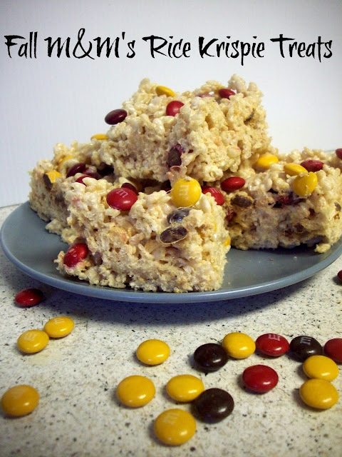Fall M&M's Rice Krispie Treats #Harvestfun #shop #cbias