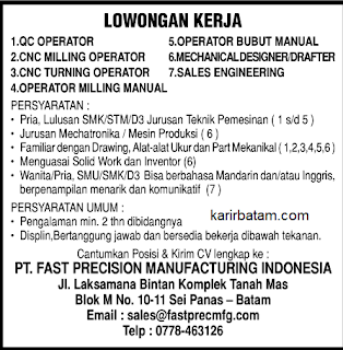 Lowongan Kerja PT. Fast Precision Manufacturing Indonesia