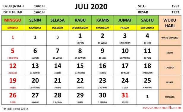 kalender 2020, juli