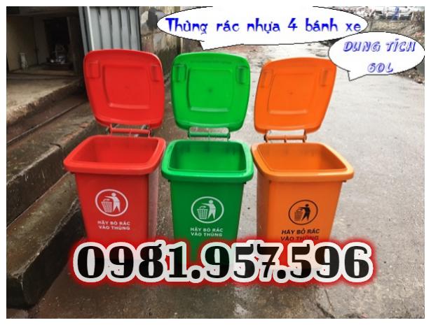 Thùng rác 60L nắp kín nhựa HDPE, thùng rác 60L có bánh xe