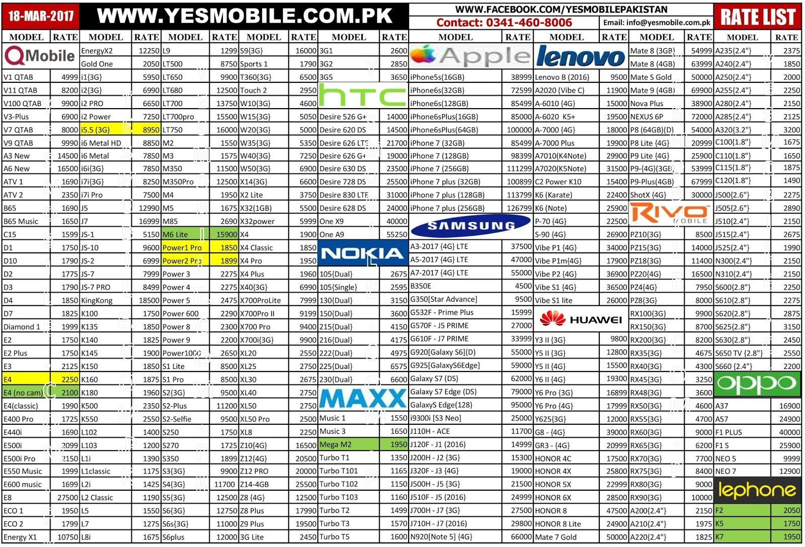 978e90684 18 March 2017 - Latest Mobile Phones Price List in Pakistan