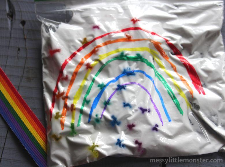 Rainbow sensory bag for toddlers