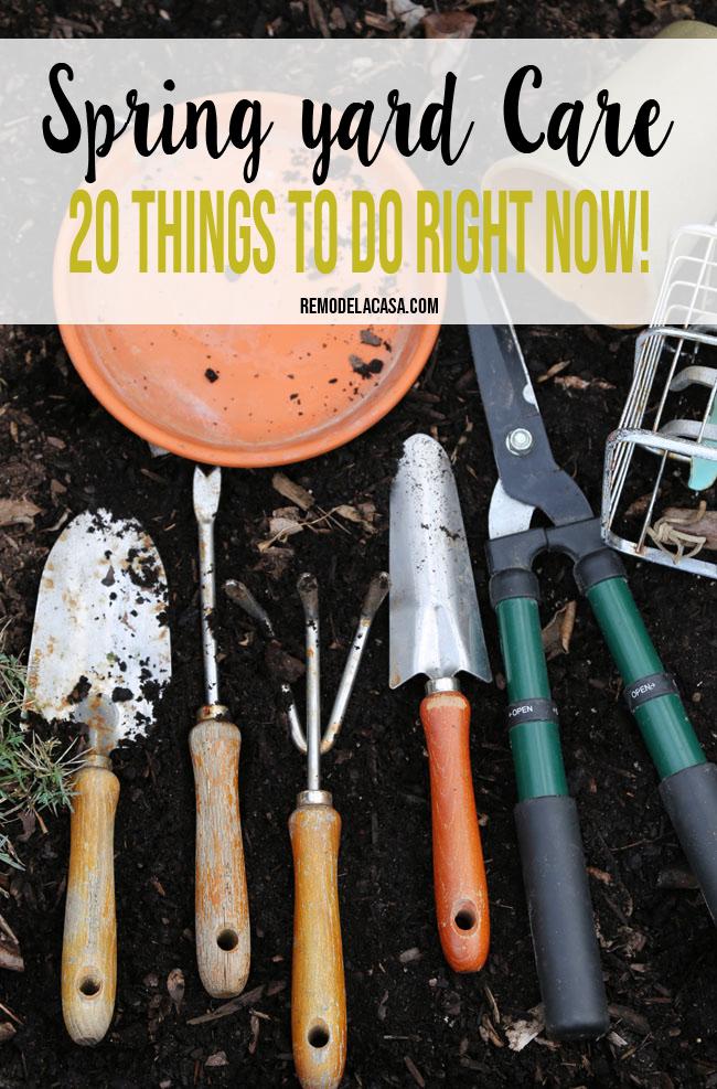 Garden tools in flower bed