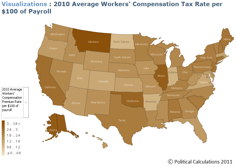 2010 Average Workers' Compensation Premium Rate per $100 of Payroll