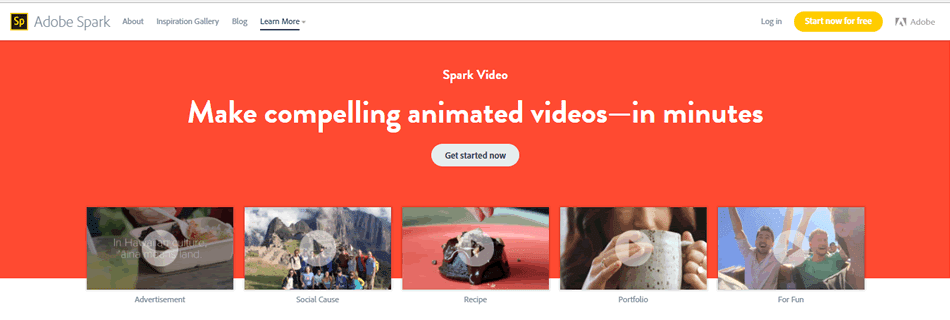 Adobe Spark lets you create engaging content video to communicate on social media