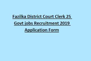 Fazilka District Court Clerk 25 Govt jobs Recruitment 2019 Application Form