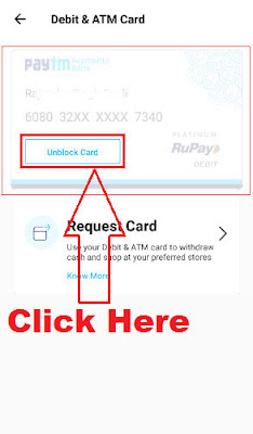 how to unblock paytm atm debit card online