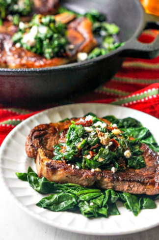 Keto Pan Fried Steak with Spinach & Sun Dried Tomatoes