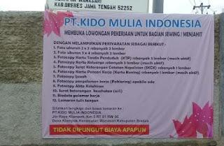 Loker PT. Kido Mulia Indonesia