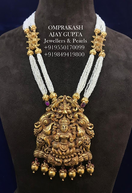 Ganesh Pendant Two Layer Pearls Haram