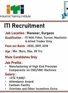 ITI Campus Placement For BAJAJ Motors Ltd Company Payroll in Imt Manesar, Gurugram, Haryana