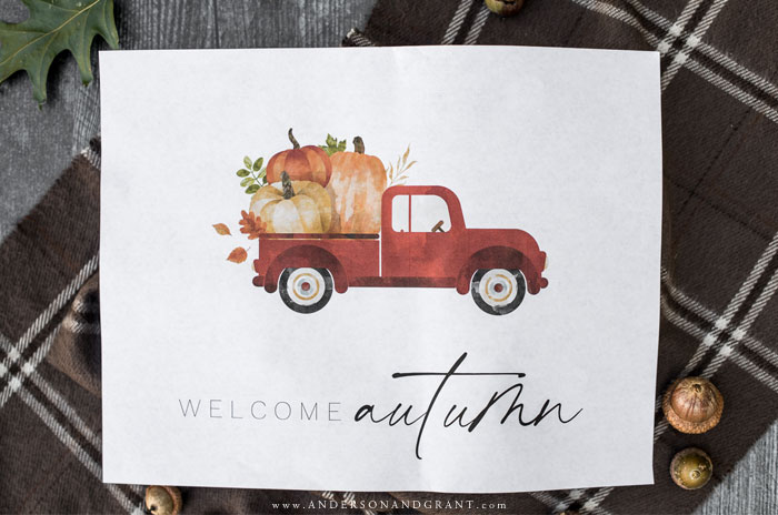 Fall printable with red pickup and pumpkins