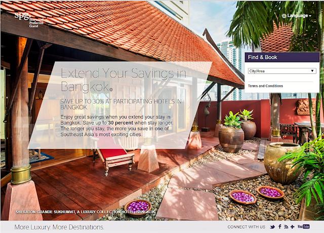 SPG喜達屋-曼谷酒店入住3晚以上可節省高達10%至30%的費用