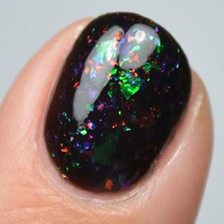 black jelly nail polish with flakies