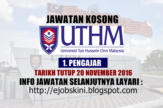 Jawatan Kosong di UTHM November 2016