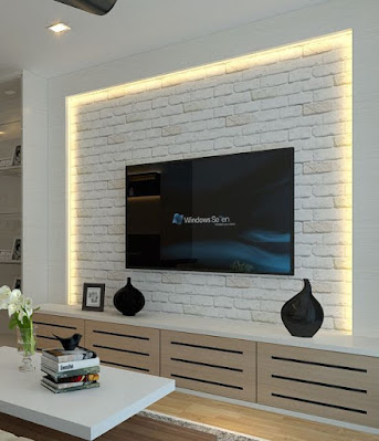 how to decorate wall behind tv stand