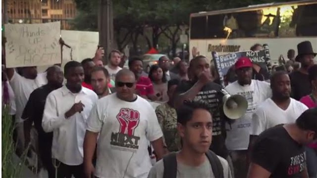 US protesters march in Dallas against police brutality toward blacks