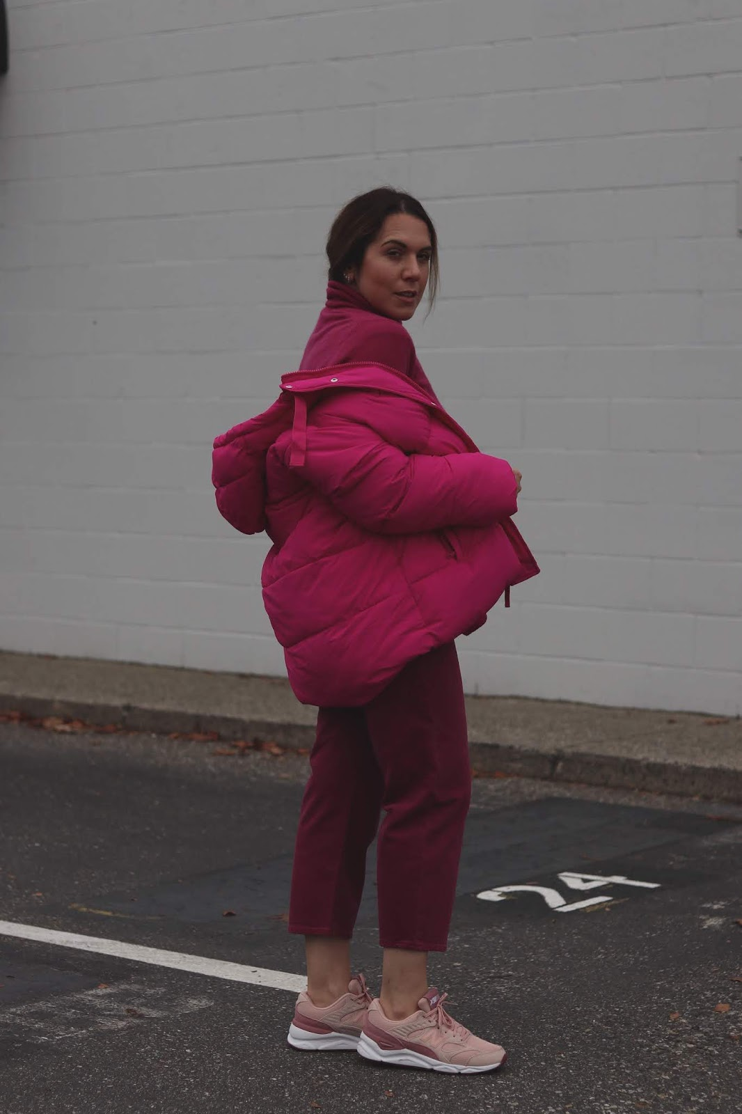 Reformation x new balance sneakers GAP Women's Upcycled Puffer blogger outfit pink winter outfit idea levis made and crafted barrel crop