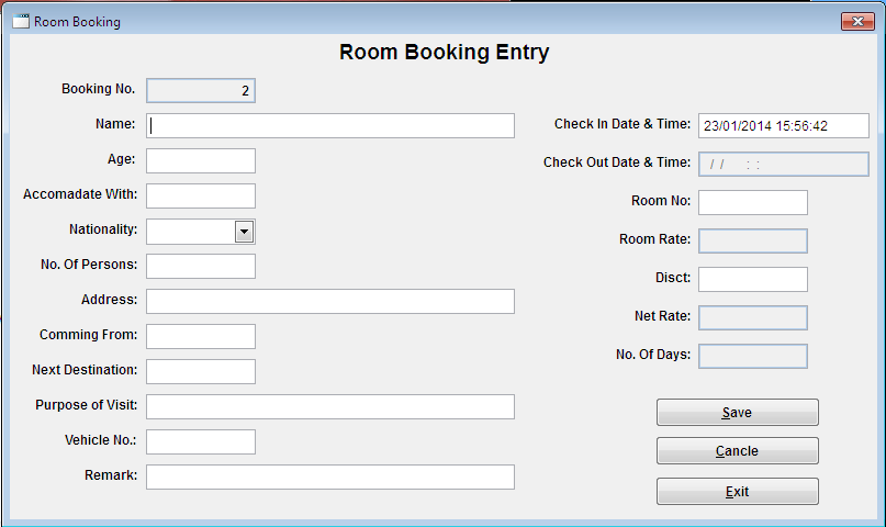 Free Download Hotel Room Booking And Billing System Vinish