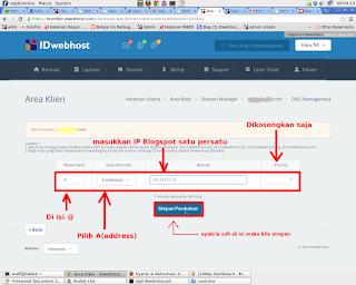 input A(ADRESS) kelola DNS Idwebhopst ke blogspot