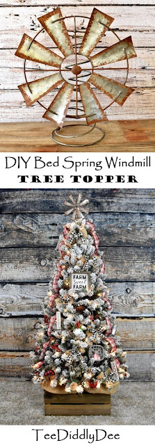 DIY bed spring windmill tree topper