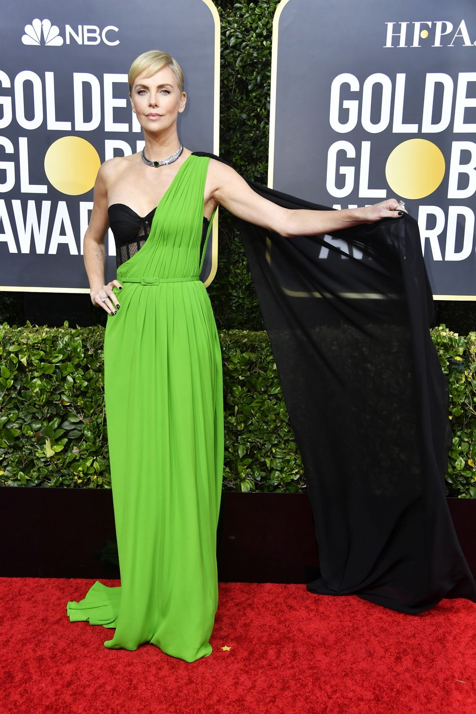 Charlize Theron goes bold in green Christian Dior at the 2020 Golden Globe Awards