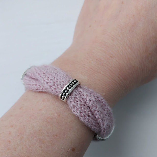 Beautiful hand-knitted bracelet