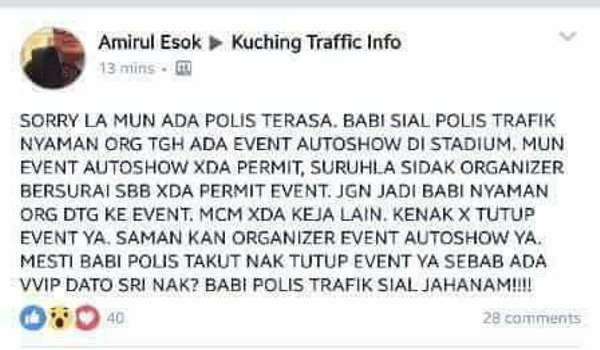 Pemegang Akaun FB 'Amirul Esok' Ditahan Fitnah Polis Kuching