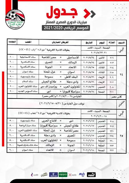 جدول مباريات الأسبوع 24 والأسبوع 25 من الدورى المصرى الممتاز 2021