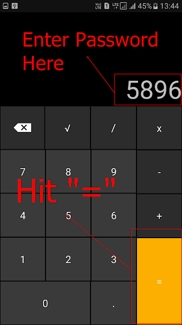 Hide files inside a calculator