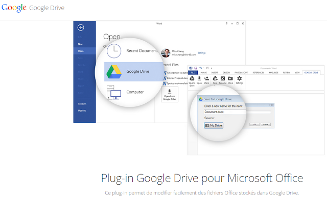 Plug-in Google Drive pour Microsoft Office