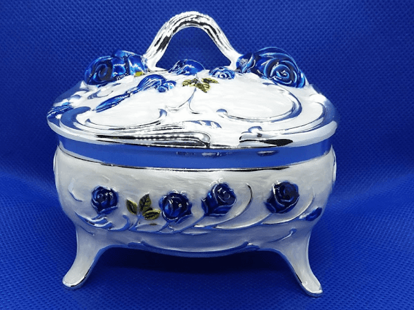 Beautiful Keepsake/Trinket Box With Blue Roses and Blue Velvet