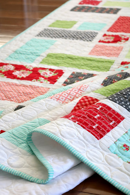 Grandstand quilt pattern from Fresh Fat Quarter Quilts book by Andy Knowlton of A Bright Corner - twelve fun fat quarter quilt projects to sew and love
