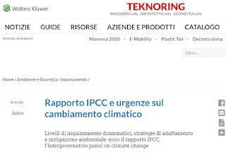 Rapporto IPCC e urgenze sul cambiamento climatico di Andrea Quaranta